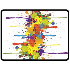 Crazy Multicolored Double Running Splashes Fleece Blanket (large)  by EDDArt