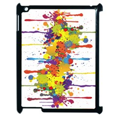 Crazy Multicolored Double Running Splashes Apple Ipad 2 Case (black) by EDDArt