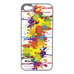 Crazy Multicolored Double Running Splashes Apple Iphone 5 Case (silver) by EDDArt