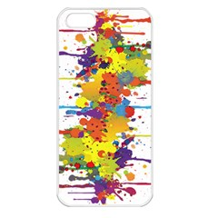 Crazy Multicolored Double Running Splashes Apple Iphone 5 Seamless Case (white) by EDDArt