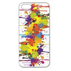 Crazy Multicolored Double Running Splashes Apple Seamless Iphone 5 Case (clear) by EDDArt