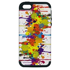 Crazy Multicolored Double Running Splashes Apple Iphone 5 Hardshell Case (pc+silicone) by EDDArt