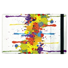 Crazy Multicolored Double Running Splashes Apple Ipad 2 Flip Case by EDDArt