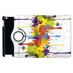 Crazy Multicolored Double Running Splashes Apple Ipad 2 Flip 360 Case by EDDArt