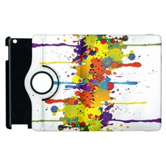 Crazy Multicolored Double Running Splashes Apple Ipad 3/4 Flip 360 Case by EDDArt