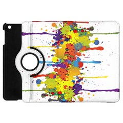 Crazy Multicolored Double Running Splashes Apple Ipad Mini Flip 360 Case by EDDArt