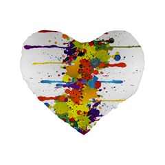 Crazy Multicolored Double Running Splashes Standard 16  Premium Heart Shape Cushions by EDDArt
