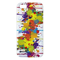 Crazy Multicolored Double Running Splashes Apple Iphone 5 Premium Hardshell Case by EDDArt