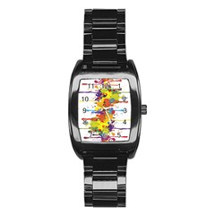 Crazy Multicolored Double Running Splashes Stainless Steel Barrel Watch