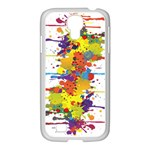 Crazy Multicolored Double Running Splashes Samsung GALAXY S4 I9500/ I9505 Case (White) Front