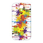 Crazy Multicolored Double Running Splashes Samsung Galaxy S4 I9500/I9505  Hardshell Back Case Front
