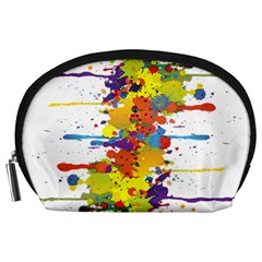Crazy Multicolored Double Running Splashes Accessory Pouches (large)  by EDDArt