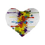 Crazy Multicolored Double Running Splashes Standard 16  Premium Flano Heart Shape Cushions Back