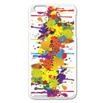 Crazy Multicolored Double Running Splashes Apple iPhone 6 Plus/6S Plus Enamel White Case Front