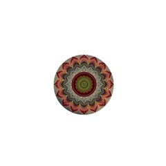 Folk Art Lotus Mandala Dirty Blue Red 1  Mini Buttons by EDDArt