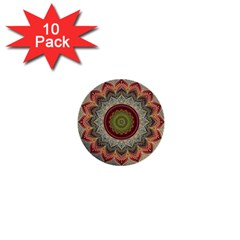 Folk Art Lotus Mandala Dirty Blue Red 1  Mini Buttons (10 Pack)  by EDDArt