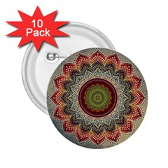 Folk Art Lotus Mandala Dirty Blue Red 2 25  Buttons (10 Pack)  by EDDArt