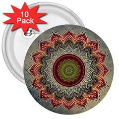 Folk Art Lotus Mandala Dirty Blue Red 3  Buttons (10 Pack)  by EDDArt
