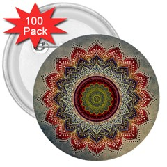 Folk Art Lotus Mandala Dirty Blue Red 3  Buttons (100 Pack)  by EDDArt