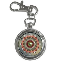 Folk Art Lotus Mandala Dirty Blue Red Key Chain Watches by EDDArt