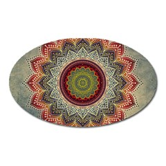 Folk Art Lotus Mandala Dirty Blue Red Oval Magnet by EDDArt
