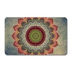 Folk Art Lotus Mandala Dirty Blue Red Magnet (rectangular) by EDDArt