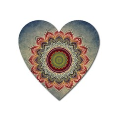 Folk Art Lotus Mandala Dirty Blue Red Heart Magnet by EDDArt