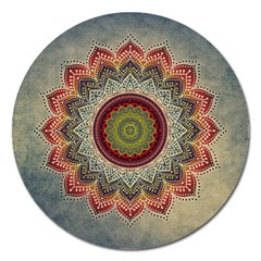 Folk Art Lotus Mandala Dirty Blue Red Magnet 5  (round) by EDDArt