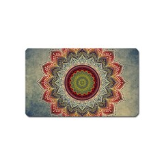 Folk Art Lotus Mandala Dirty Blue Red Magnet (name Card) by EDDArt