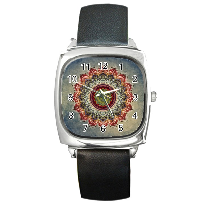 Folk Art Lotus Mandala Dirty Blue Red Square Metal Watch