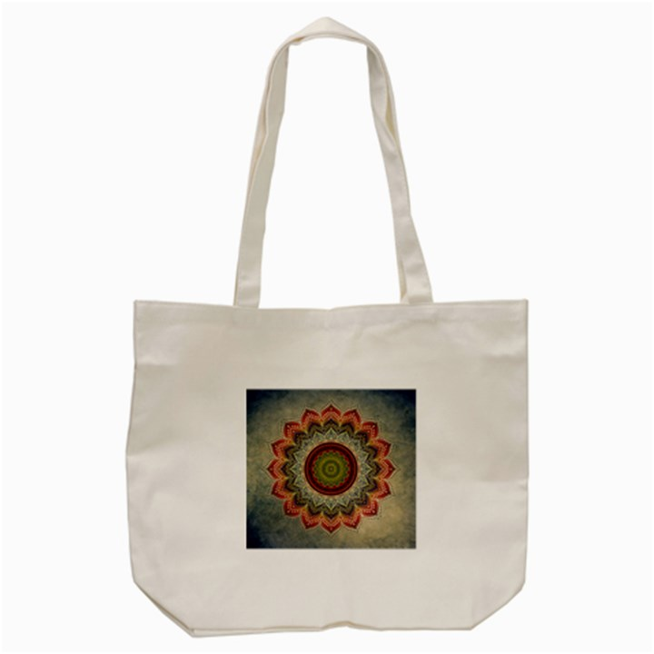 Folk Art Lotus Mandala Dirty Blue Red Tote Bag (Cream)