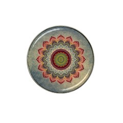 Folk Art Lotus Mandala Dirty Blue Red Hat Clip Ball Marker (4 Pack) by EDDArt