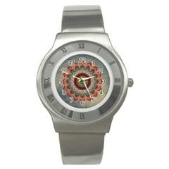 Folk Art Lotus Mandala Dirty Blue Red Stainless Steel Watch by EDDArt