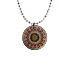 Folk Art Lotus Mandala Dirty Blue Red Button Necklaces by EDDArt