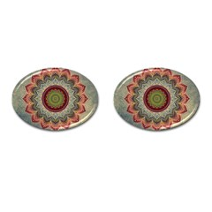 Folk Art Lotus Mandala Dirty Blue Red Cufflinks (oval) by EDDArt