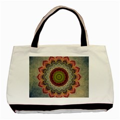 Folk Art Lotus Mandala Dirty Blue Red Basic Tote Bag by EDDArt