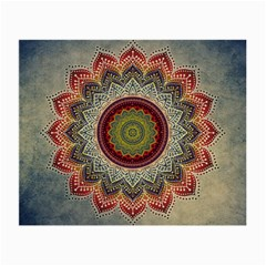 Folk Art Lotus Mandala Dirty Blue Red Small Glasses Cloth (2 Side) by EDDArt