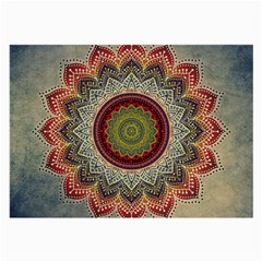 Folk Art Lotus Mandala Dirty Blue Red Large Glasses Cloth (2 Side) by EDDArt