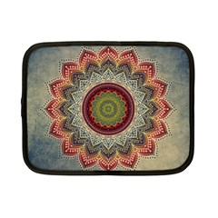 Folk Art Lotus Mandala Dirty Blue Red Netbook Case (small)  by EDDArt