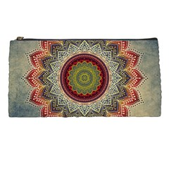 Folk Art Lotus Mandala Dirty Blue Red Pencil Cases by EDDArt