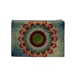 Folk Art Lotus Mandala Dirty Blue Red Cosmetic Bag (Medium)  Back