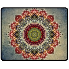 Folk Art Lotus Mandala Dirty Blue Red Fleece Blanket (medium)  by EDDArt