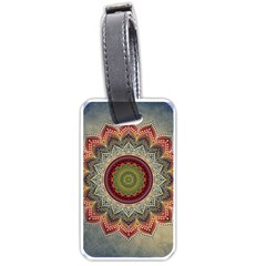 Folk Art Lotus Mandala Dirty Blue Red Luggage Tags (two Sides) by EDDArt