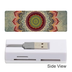 Folk Art Lotus Mandala Dirty Blue Red Memory Card Reader (stick)  by EDDArt