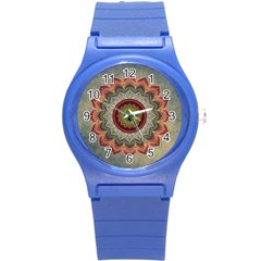Folk Art Lotus Mandala Dirty Blue Red Round Plastic Sport Watch (s) by EDDArt
