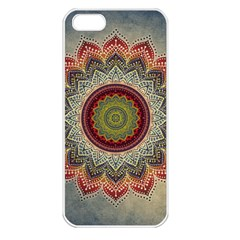 Folk Art Lotus Mandala Dirty Blue Red Apple Iphone 5 Seamless Case (white) by EDDArt