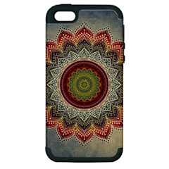 Folk Art Lotus Mandala Dirty Blue Red Apple Iphone 5 Hardshell Case (pc+silicone) by EDDArt