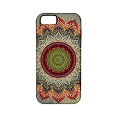 Folk Art Lotus Mandala Dirty Blue Red Apple Iphone 5 Classic Hardshell Case (pc+silicone) by EDDArt
