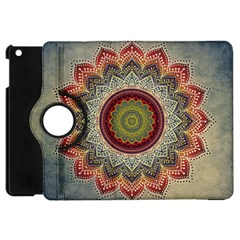 Folk Art Lotus Mandala Dirty Blue Red Apple Ipad Mini Flip 360 Case by EDDArt