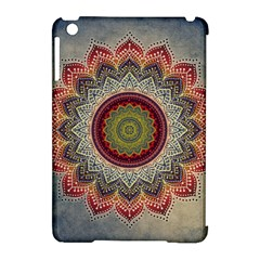 Folk Art Lotus Mandala Dirty Blue Red Apple Ipad Mini Hardshell Case (compatible With Smart Cover)